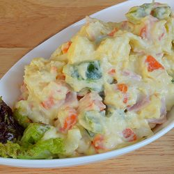 Салат картофельный с ветчиной в стиле японской кухни